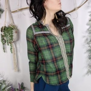 J.CREW Embroidered peasant top green plaid 0677
